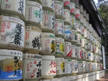 The Sake Barrels stacked five high and about 30 along