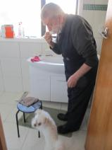 Making sure dad doesn't miss a spot!