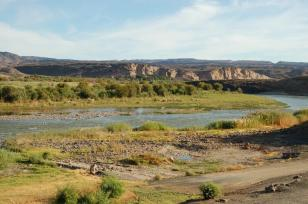 Orange and Green.The Orange River, South Africa.