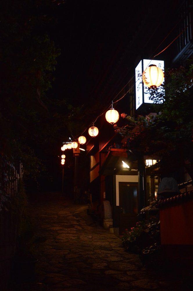 Des lanternes dans une ruelle japonaise