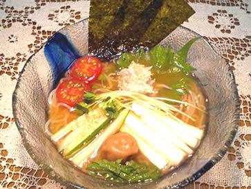 サツマイモ冷麺アレンジレピシ梅肉スープ