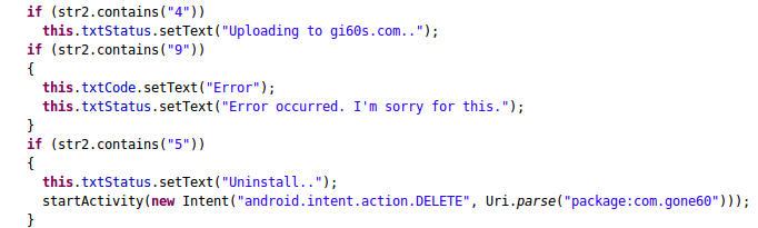 gone60 self destraction code