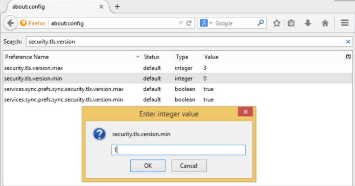 Disabling SSLv3.0 in Firefox