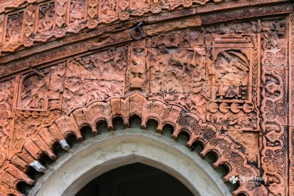 Terracotta design on the wall of a temple at Puthia