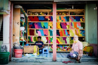 A shop selling threads for Jamdani