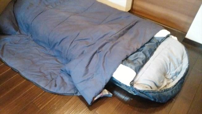 寝袋 寝袋を掛け布団に