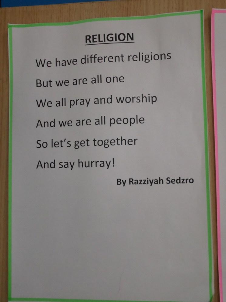 Poem on religion.