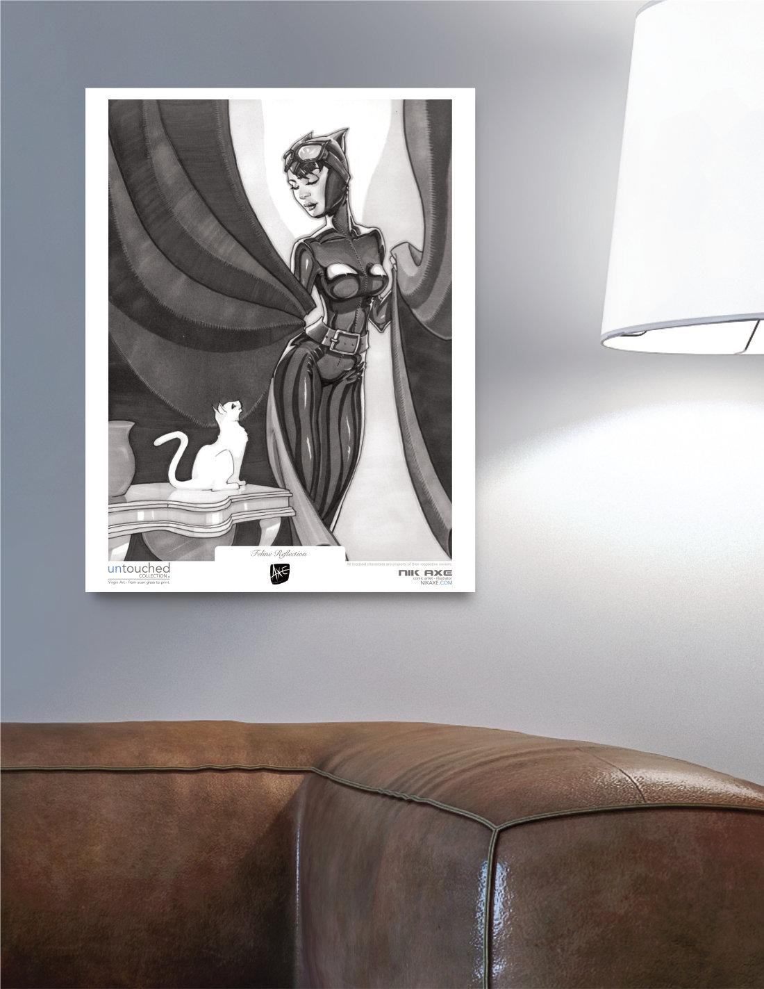 Catwoman Art Print Batman DC Comics Feline Reflection Hanging in Livingroom