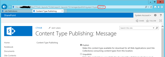 Publish a SharePoint Content Type