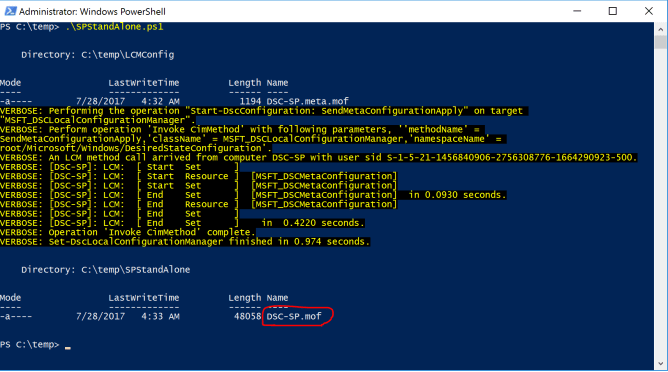 SharePoint DSC MOF File Generated