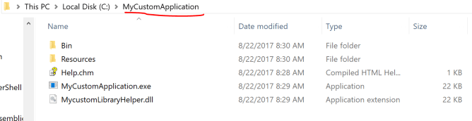 MyCustomApplication file Structure