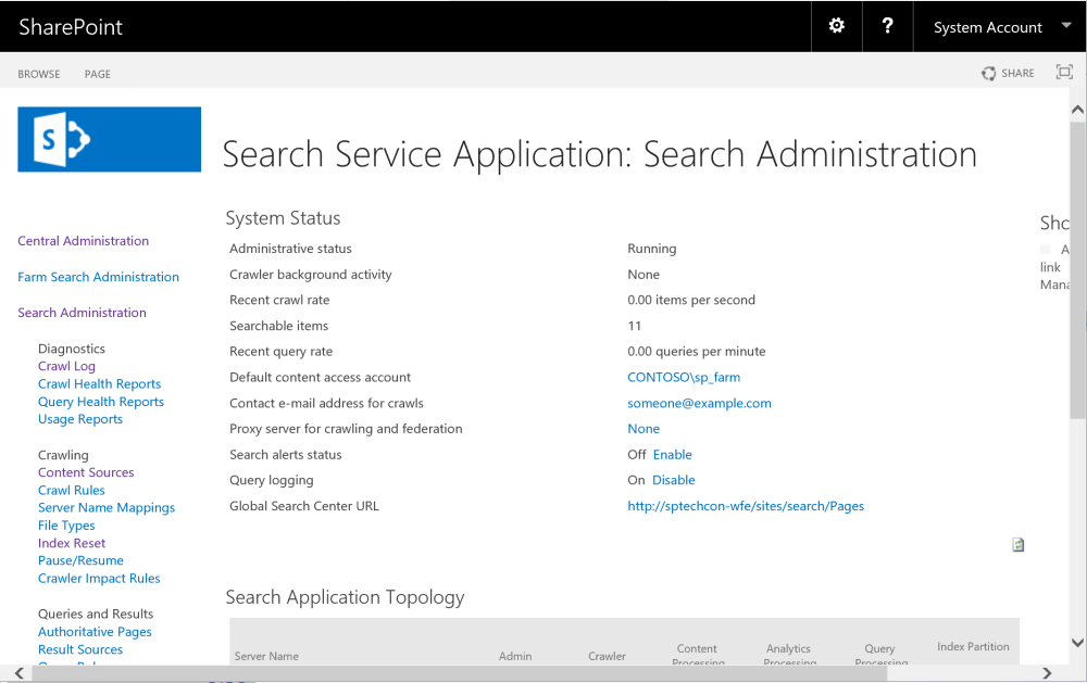 Search Service Application page in Central Administration