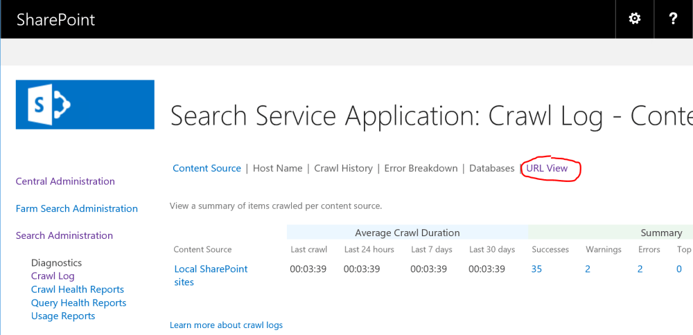 URL View in Search Crawl Log