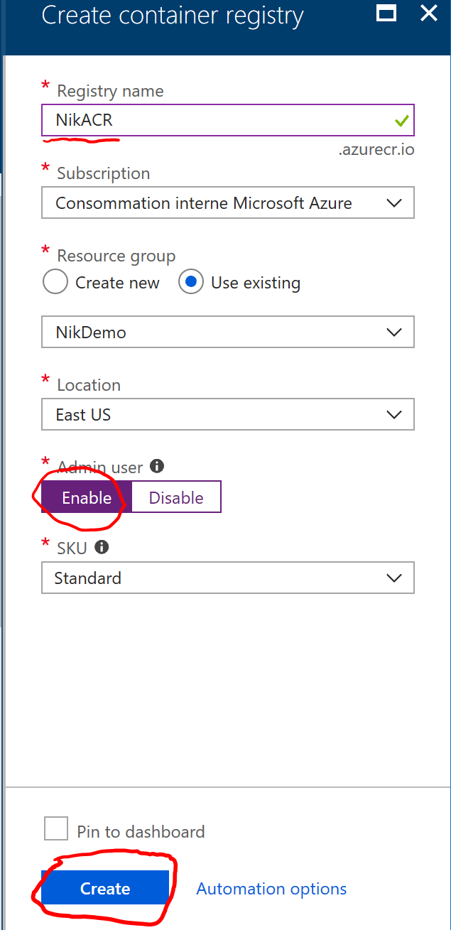 Create new Azure Container Registry Instance