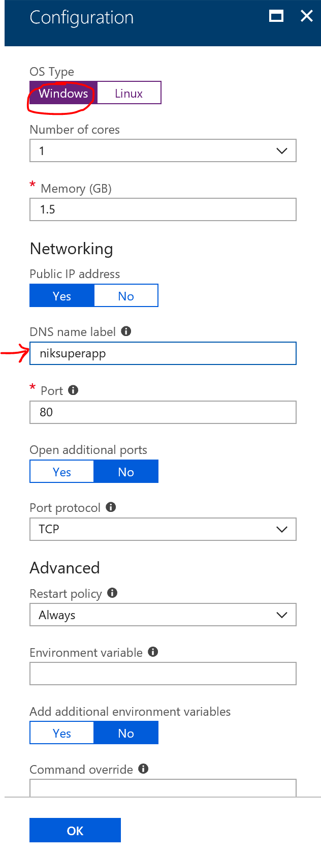 New Azure Container Instance - Configuration