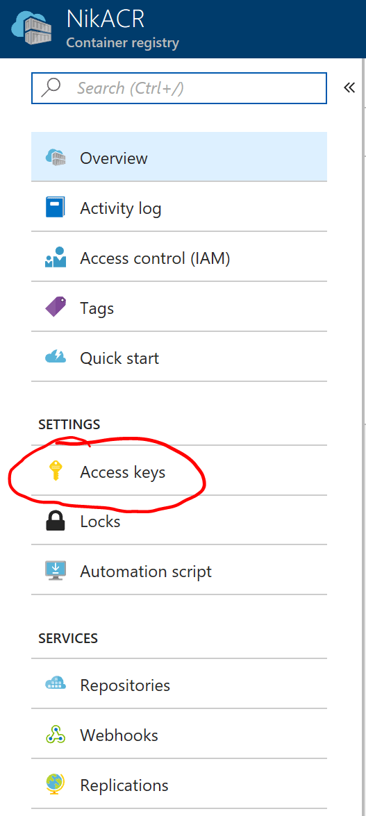 Azure Container Registry Access Keys