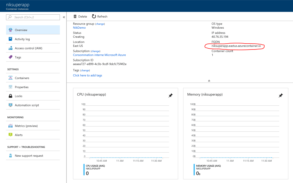 Azure Container Instance Fully Qualified Domain Name