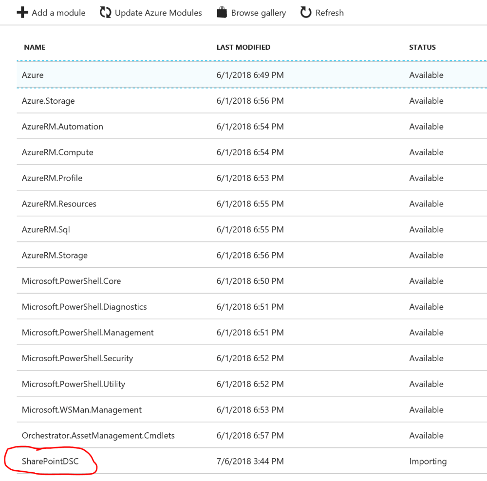 Importing Azure Automation Module from Gallery