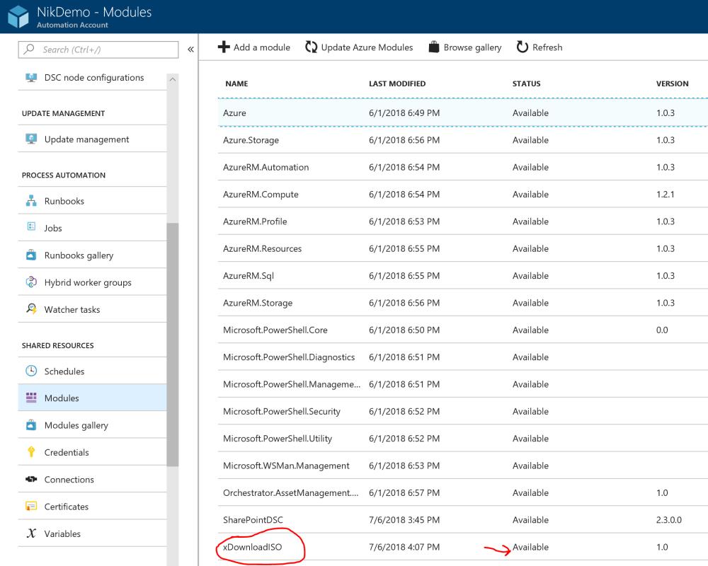 Azure DSC Module Successfully Imported