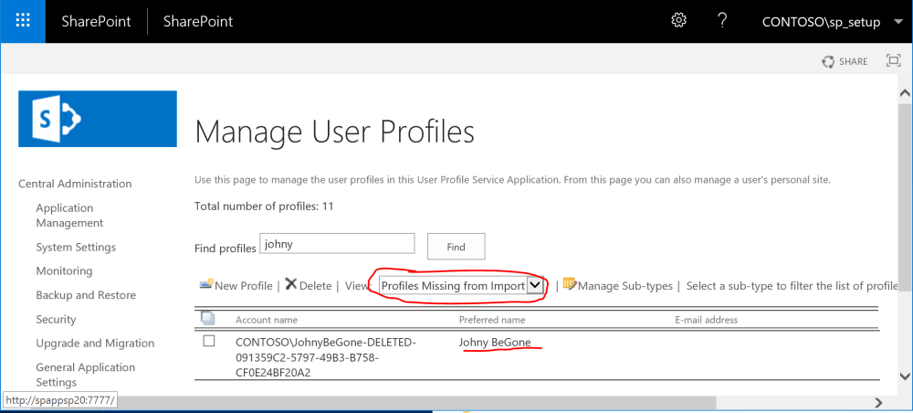 Deleted SharePoint User Profile