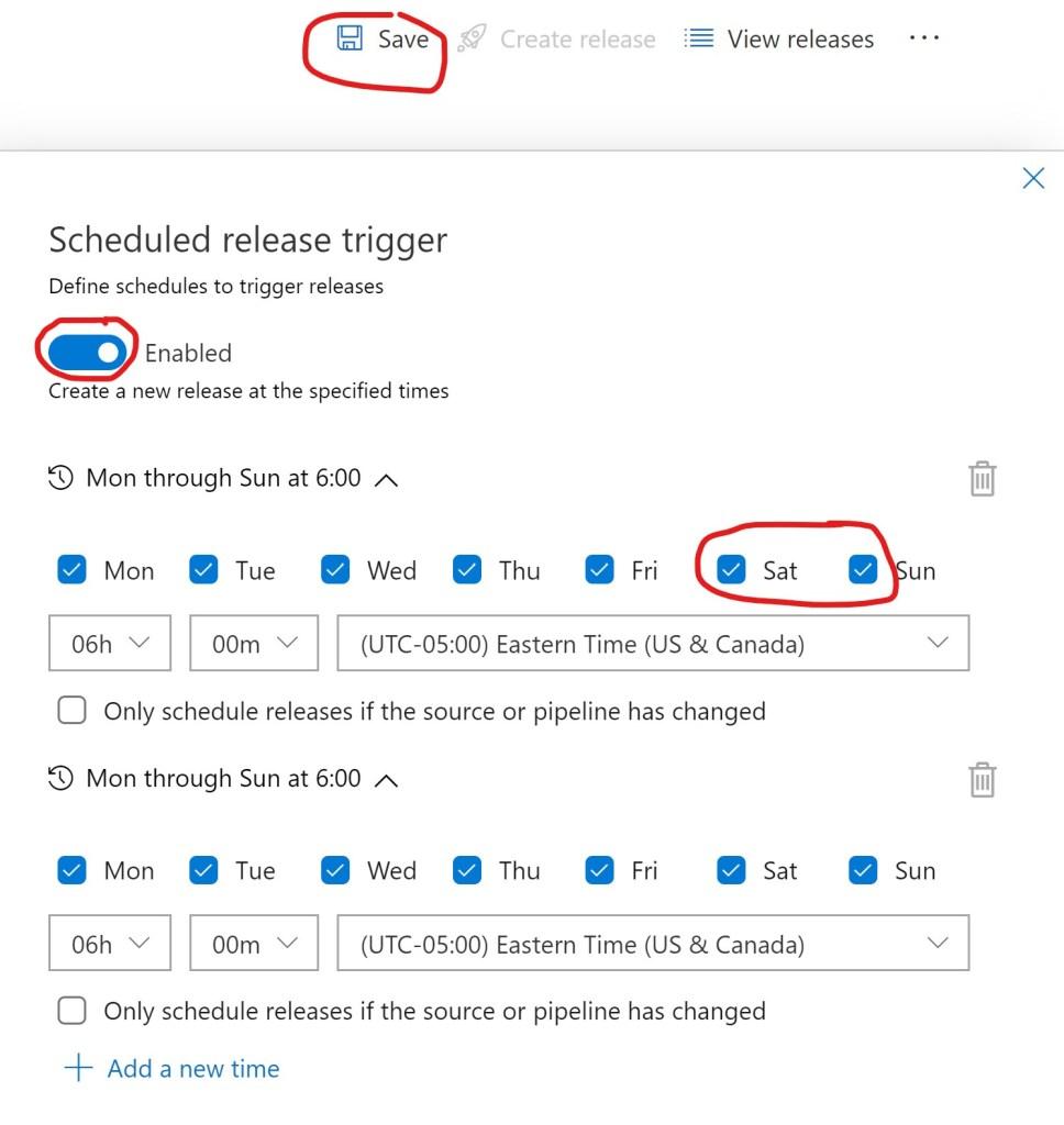 Azure DevOPS Release Pipeline Schedules
