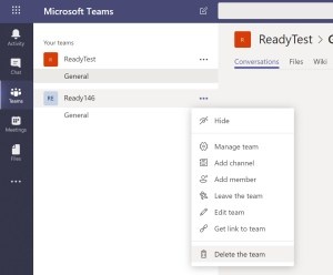 Deleting a Microsoft Teams through the Web Interface