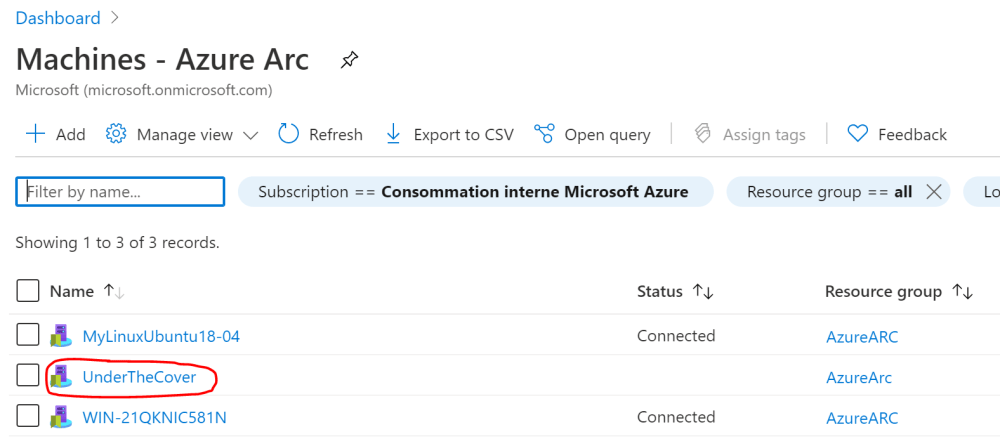 New on-boarded Azure Arc Server