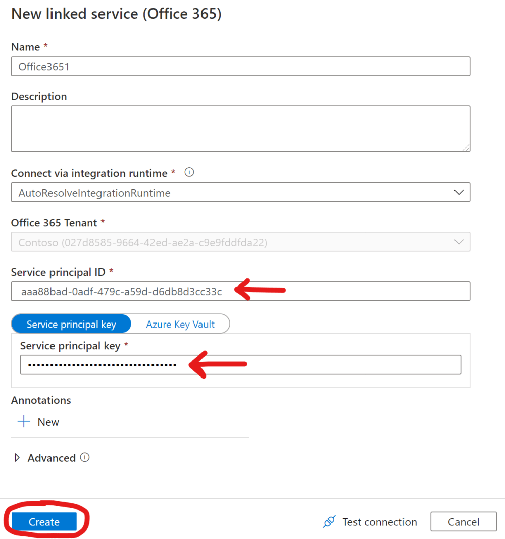 Create a linked service in Azure Data Factory with a Service Principal