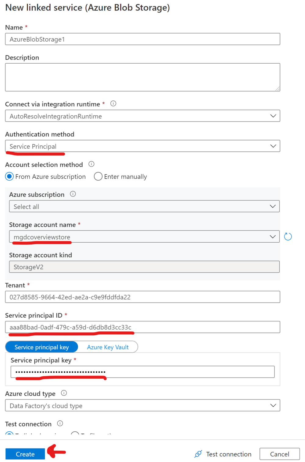 Create a Sink Linked service in Azure Data Factory using a Service Principal