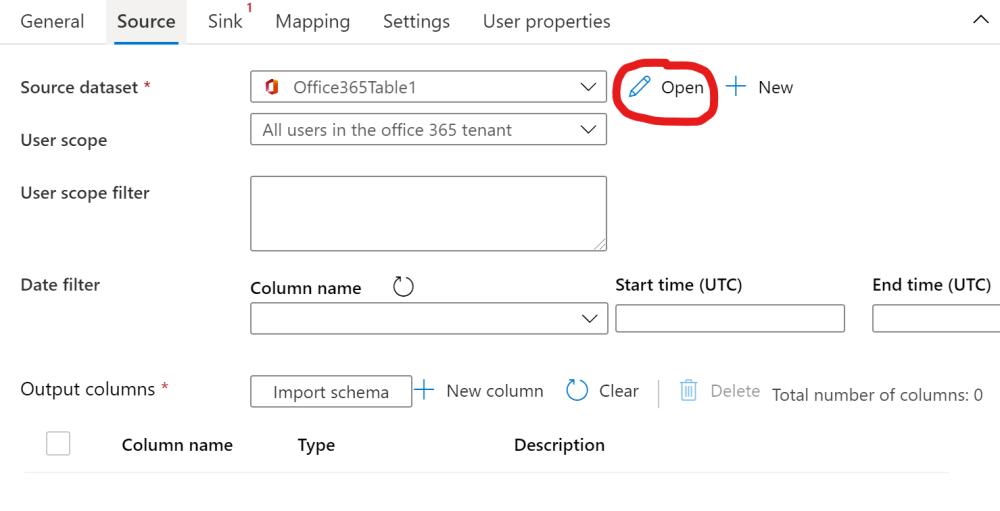Open an Office 365 dataset in Azure Data Factory