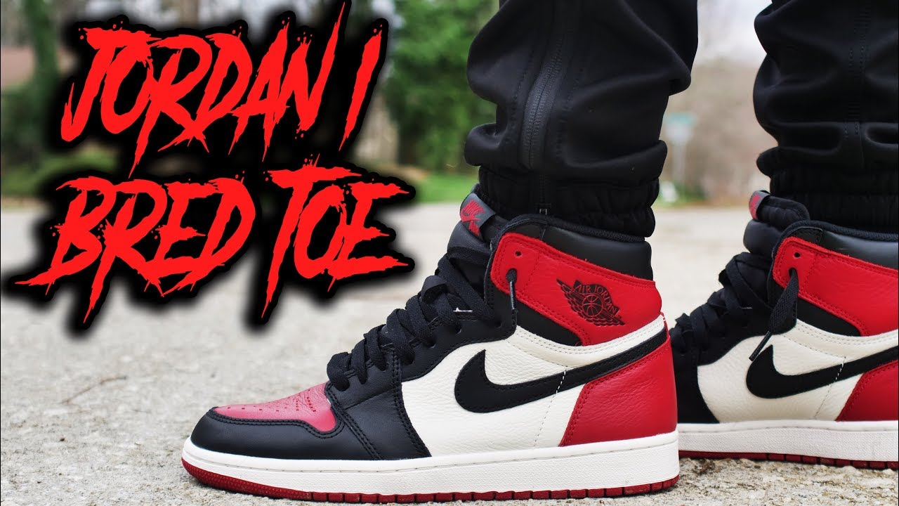 AIR JORDAN 1 BRED TOE REVIEW AND ON FOOT - AIR JORDAN 1