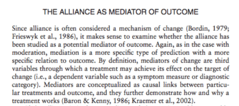 Barber, J. P., Khalsa, S. R., Sharpless, B. A., Muran, J. C., & Barber, J. P. (2010). The validity of the alliance as a predictor of psychotherapy outcome. The therapeutic alliance: An evidence-based guide to practice, 29-43.