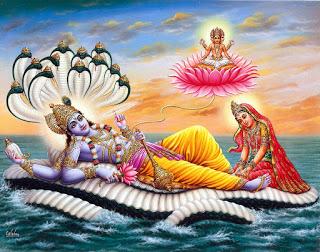 Vishnu reclining on Ananta: a popular modern depiction
