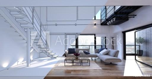 Spacious open plan living room design mockup