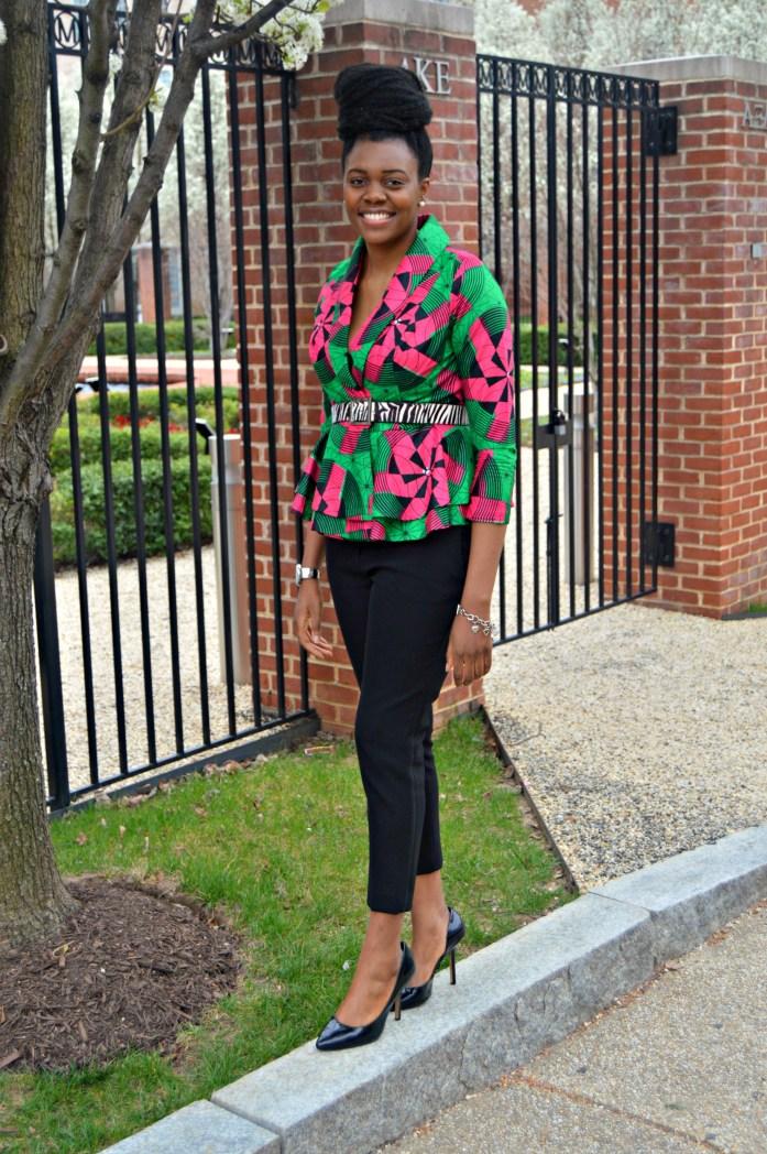 Nikki Billie Jean Pink and Green Ankara Print Peplum Jacket 11