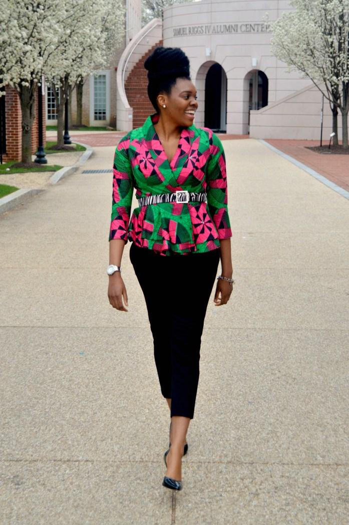 Nikki Billie Jean Pink and Green Ankara Print Peplum Jacket 2