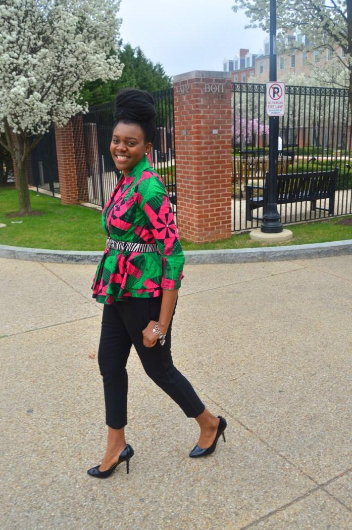 Nikki Billie Jean Pink and Green Ankara Print Peplum Jacket 6