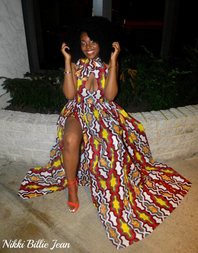 Africa Gives Back Int'l Gala 2016- Nikki Billie Jean Sleeveless Keyhole Scarf Neckline Side Slit Gown 3