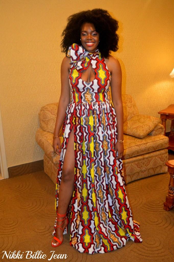 Africa Gives Back Int'l Gala 2016- Nikki Billie Jean Sleeveless Keyhole Scarf Neckline Side Slit Gown 4