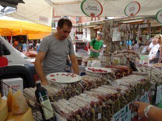 Salami at Italian markets