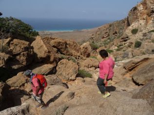 Hiking down to the sea with Thabet - our guide