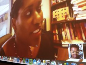 Dr. Chatelain & Dr. Raiford in conversation on #FergusonSyllabus. Photo by Nikki A. Greene