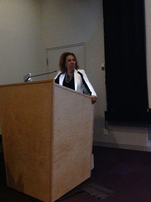"""Dr. Kellie Jones, """"Crisscrossing the World: Los Angeles Artists and the Global Imagination, 1960-1980."""" October 2014. Photo by Nikki A. Greene."""