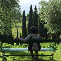 Sandy Alexandre resting post-panel at the Villa La Pietra. Photo by Nikki A. Greene