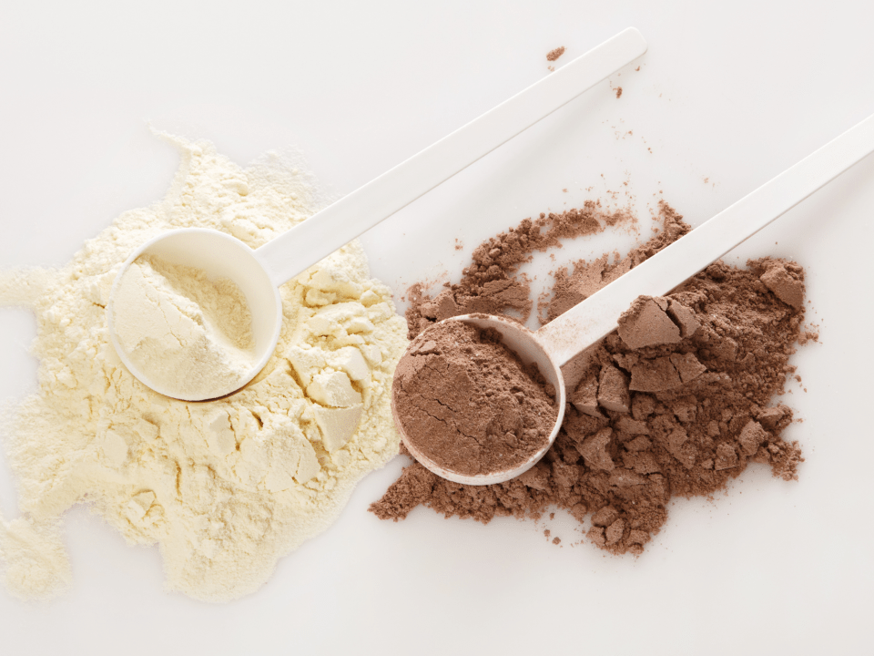 Healthy protein powders flavored chocolate and vanilla