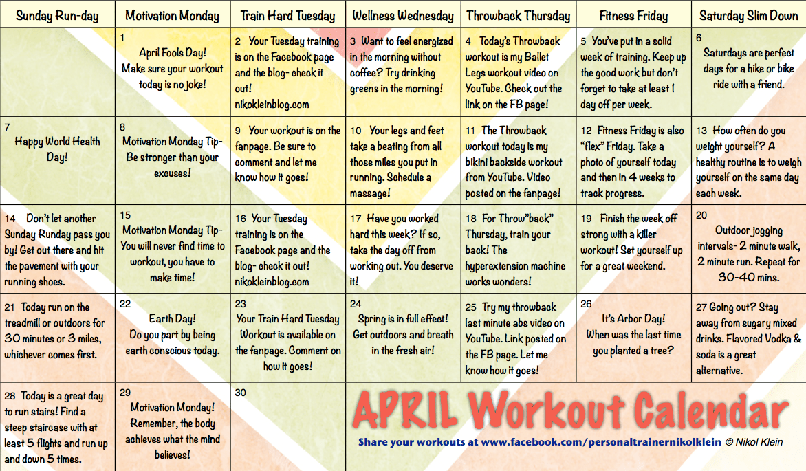April Workout Calendar | Nikol Klein's Health & Fitness Tips