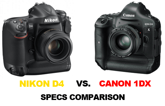 Nikon D4 vs Canon 1Dx specs comparison Nikon D4 vs. Canon EOS 1Dx specs comparison