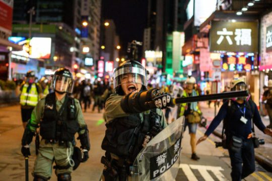 Hong Kong riot police during clashes with protesters, August 2019 / Z6, 35mm, f1.8, ISO 5000