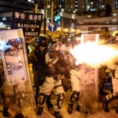 Hong Kong riot police firing tear gas during clashes with protesters, August 2019 / Z6, 35mm, f1.8, ISO 5000